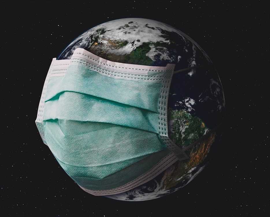 Planet earth with surgical mask.